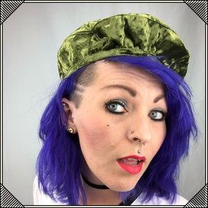 * Bonjour Beret * Crushed Green Velvet * Fancy Hat